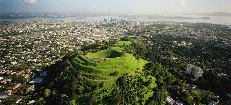 View of Mt. Eden overlooking Auckland city.