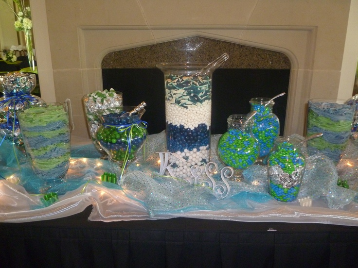 Candy bar at the Irving wedding, colors were blue, turquoise and lime green!