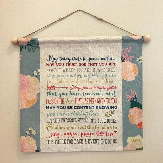 St Therese Of Lisieux Wall Hanging May Today There Be Peace Wall Art Inspirational Quote Wall Hanging Floral Wall Ha Peace Wall Art Floral Wall Wall Hanging