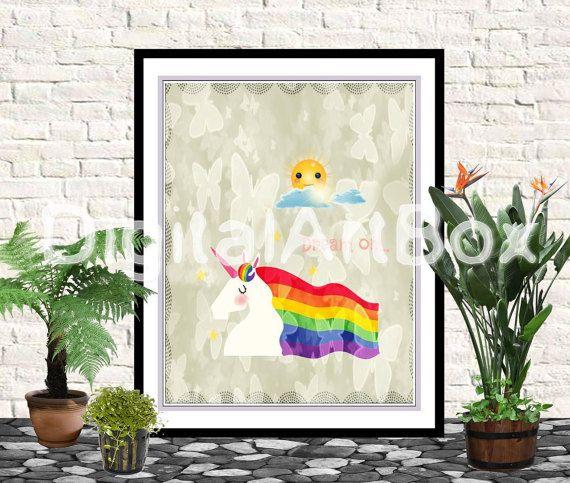 Last minute giftPrint it out8x10 Unicorn Nursery by DigitalArtBox