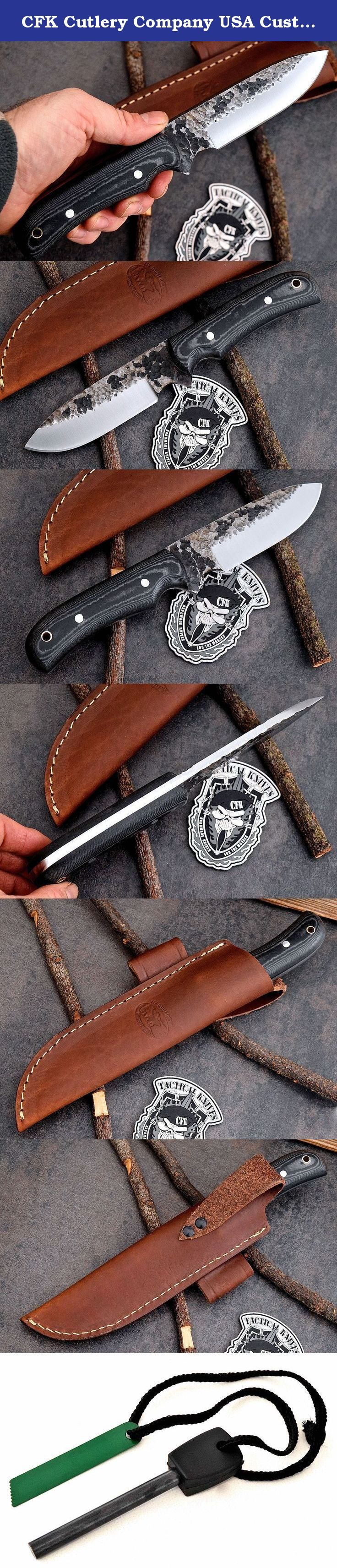 CFK Cutlery Company USA Custom Handmade Hammered D2 Tool Steel Micarta BUSHCRAFT-SURVIVAL Skinning Hunting Knife with Leather Sheath & Fire Starter Set CFK15. This knife is beautiful and functional. The knife has a full .25 inch thick blade that is tempered to 59HRC. The blade is tough and sharp! The knife is great for hunting, skinning, camping, bushcraft, and game-processing uses. The knife has a high quality handcrafted leather belt sheath and the knife comes with a lifetime…