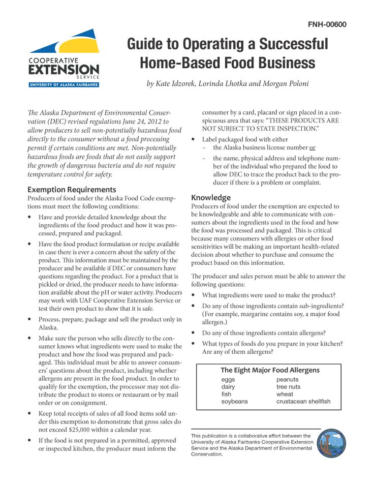 Guide to Operating a Successful Home-Based Food Business | Alaska ...