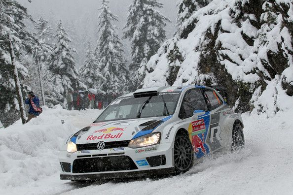 Sebastien Ogier of France and Julien Ingrassia of France compete in their Volkswagen Motorsport Polo R WRC during Day Three of the WRC Monte...