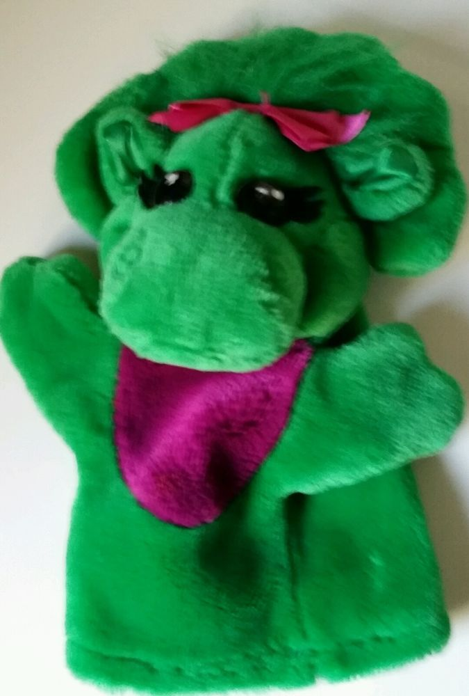 "Baby Bop Plush  9"" Hand Puppet   Green Dinosaur  Barney's Friend  Pre Owned VGC"