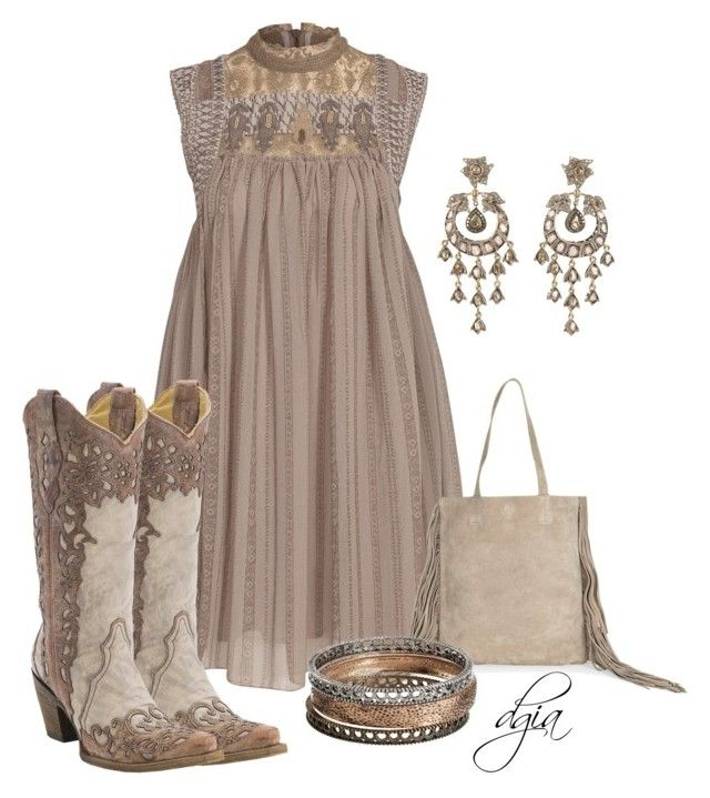 Dress & Cowboy Boots by dgia on Polyvore featuring Free People, Accessorize, Sonoma life + style and Petralux