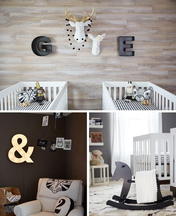 A black and white nursery for twins - Think.Make.Share.
