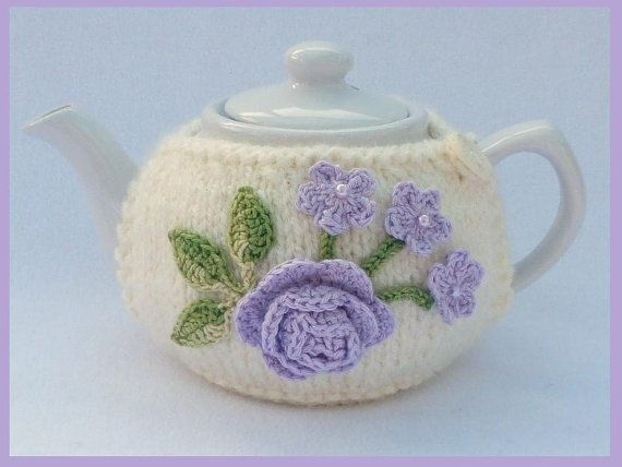 Cream knitted 2 cup teapot cozy decorated with by MyfanwysMakes, £9.30