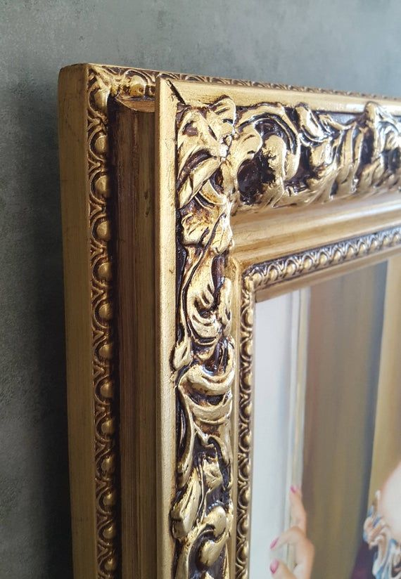 Colonial Style Frame Gold Leaf Canvas Frame Photo Frame Oil Paiting Frame Custom Made Wood Gesso Frame Wood Picture Frame Gold Frame En 2020 Marcos De Cuadros De Madera Marcos De Madera