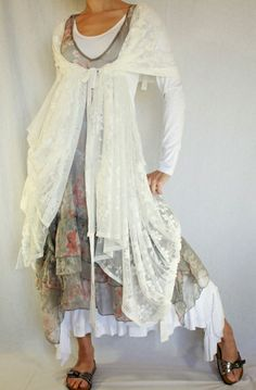 Love the shawl or shrug -- what is that and how did she do it!! Coral print silk dress Zeigler Myrine