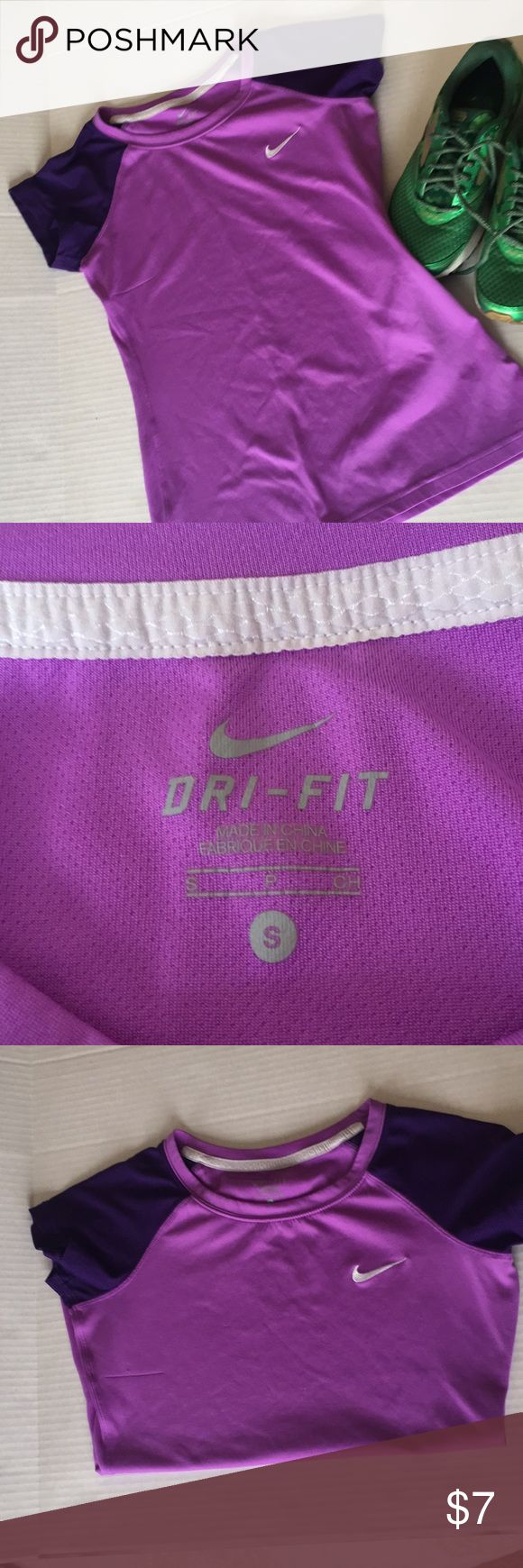 Nike dri fit short sleeve t Size small Nike dri fit shirt sleeve purple t. Mesh detail on sleeves. No rips or tears. Faint spots on front fabric. Smoke free home Nike Tops Tees - Short Sleeve