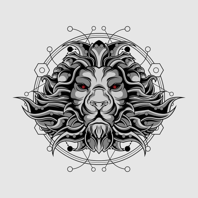 Silver Ultimate Lion Sacred Geometry Lion King Clipart Abstract Angry Png And Vector With Transparent Background For Free Download Lion Head Drawing Lion Illustration Skull Illustration