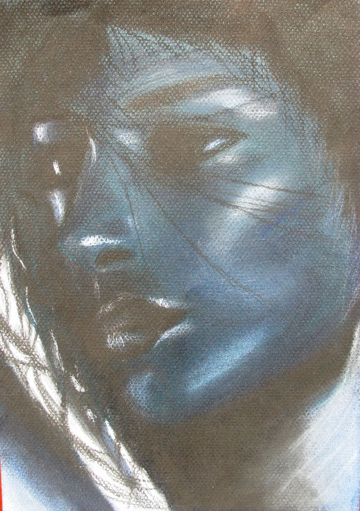 soft pastels, blue, portrait