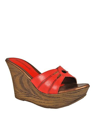 Take a look at this Coral Wood Design Leather Pump on @zulily today!