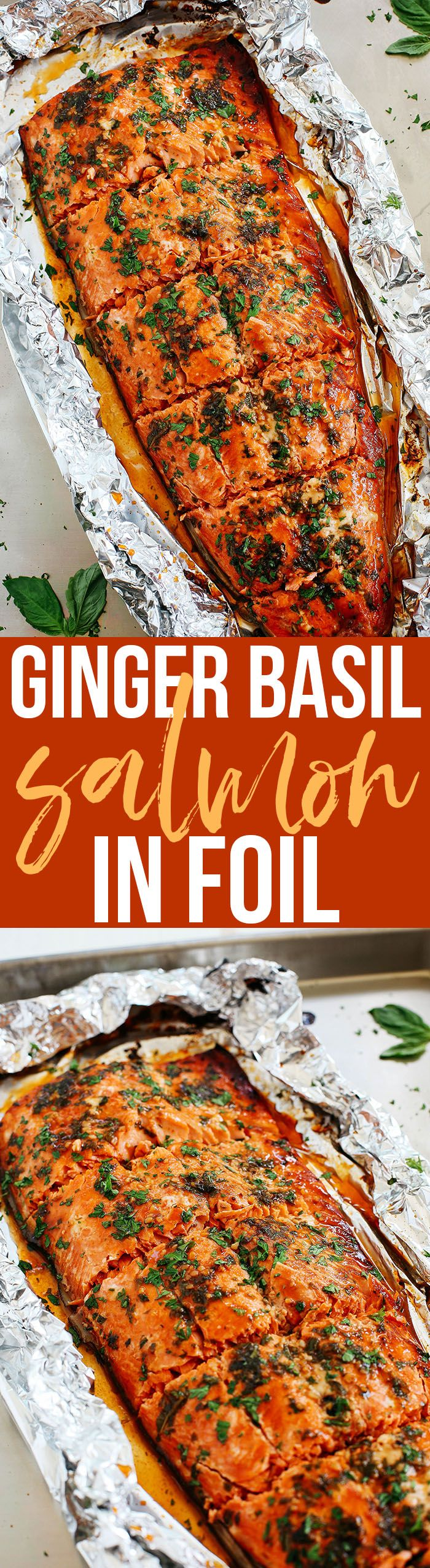 This delicious Ginger Basil Salmon in Foil is the perfect weeknight dinner that's healthy, easy to prepare, and ready in just 20 minutes!