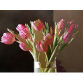 Found it at Wayfair - 'Pink Tulips in a Vase' by David Lloyd Glover Painting Print on Wrapped Canvas#buyartforless