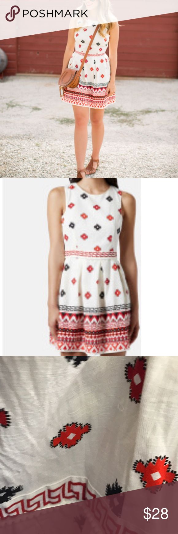 Topshop Aztec print dress Topshop dress with Aztec inspired print. Resembles embroidery. Fully lined. 100% cotton. Hits above the knees. White, red and navy blue Topshop Dresses