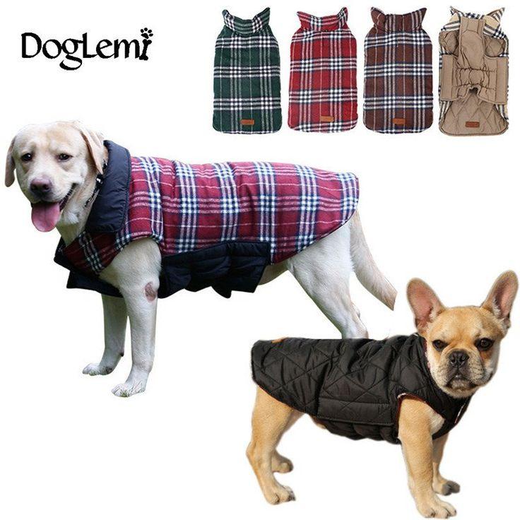 Waterproof Reversible Dog Jacket Designer Warm Plaid Winter Dog Coats  Elastic Small to Large