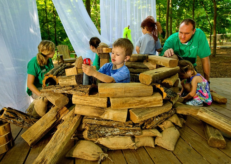Charlotte Nature Museum and its new Fort Wild natural outdoor habitat designed to encourage unstructured play and exploration of nature. Fort Wild, funded by the National Wildlife Federation  - shows families how to create outdoor play spaces from natural elements found in their own backyards.
