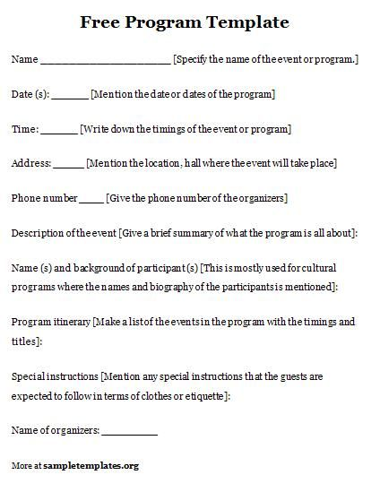 Sample Event Program. Free Event Program Template 4 Event Program