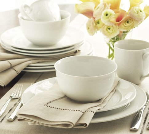 Pottery Barn Great White Traditional dinnerware...for casual outdoor grilling or dining.  Great breakfast dishes.  Simple.  Perfect.   Won't upstage my morning eggs.