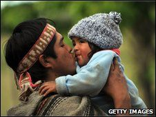Members of the Mapuche community who struggling to retrieve ancestral lands
