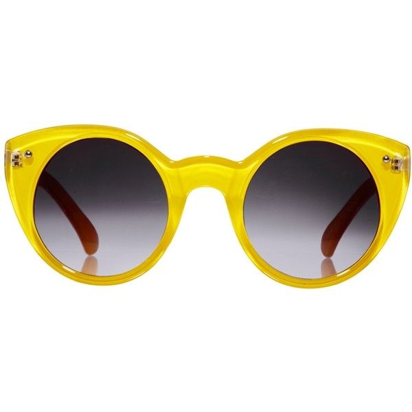 Quay Oversized Round Yellow Plastic Sunglasses (£12) ❤ liked on Polyvore featuring accessories, eyewear, sunglasses, glasses, quay eyewear, uv protection sunglasses, yellow glasses, yellow round sunglasses and oversized glasses