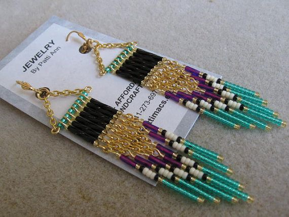 Seed Bead Earrings  Modern Native American by pattimacs on Etsy, $20.00