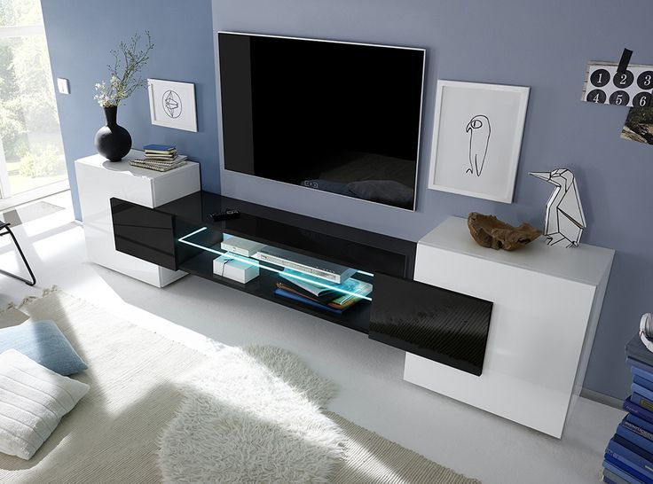 25 best ideas about low tv stand on pinterest ikea tv - Meuble blanc laque et bois ...
