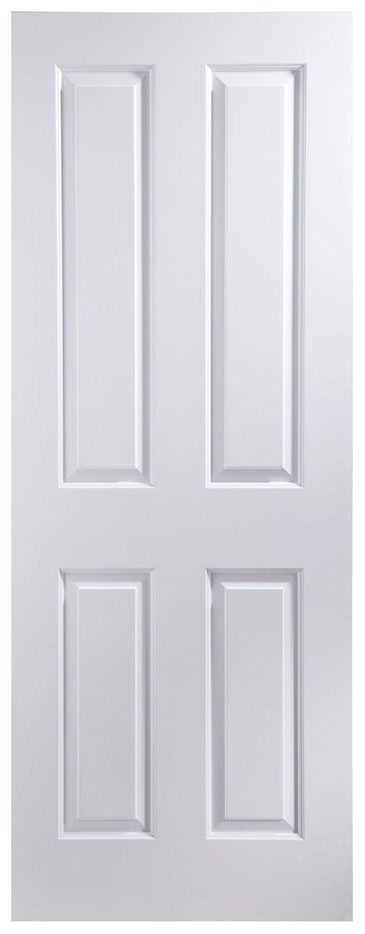 4 Panel Primed Smooth Internal Unglazed Door, (H)1981mm (W)762mm   Departments   DIY at B&Q