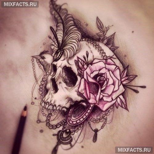 татуировка роза и череп
