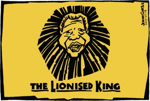 Nelson Mandela is celebrated in this Lion King parody cartoon by John Curtis.