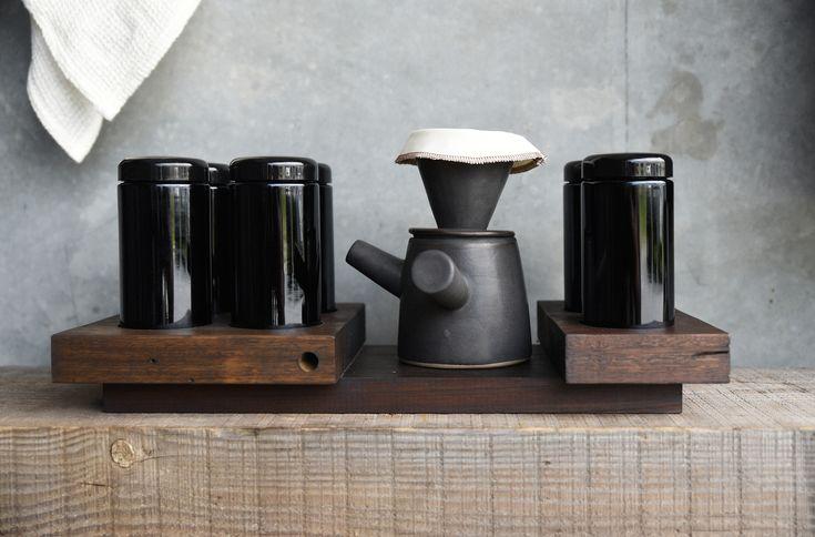 Brew/ Coffee Ritual on recycled timber ritual base