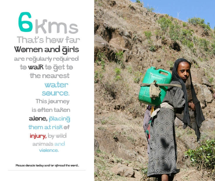 Women and girls have to walk 6 kms to get to the nearest water source.