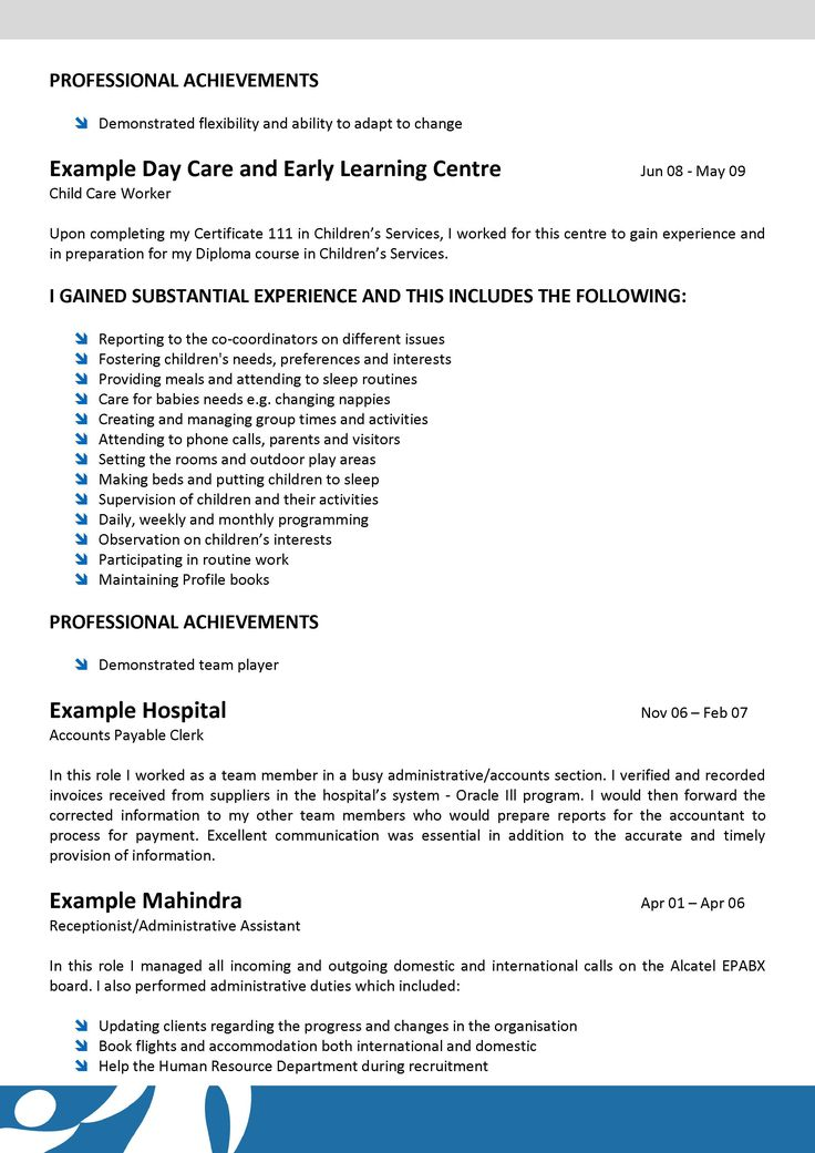 12 best ECE 300 images on Pinterest Sample resume, Childcare and - sample resume for daycare worker