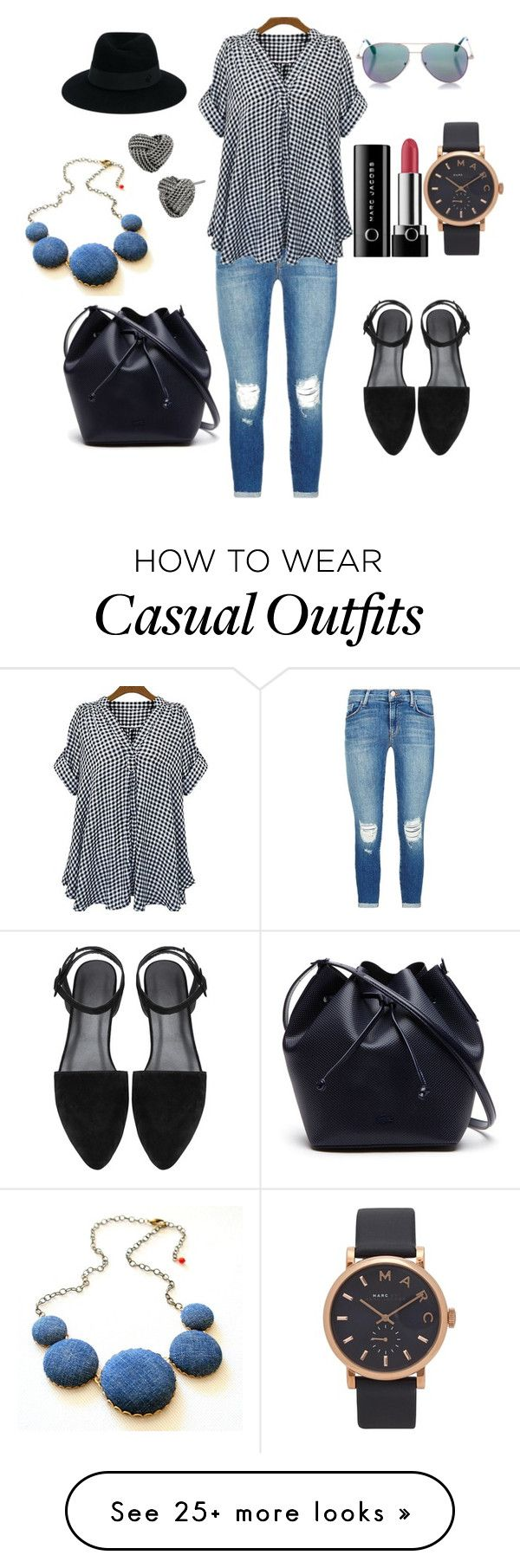 """""""Casual weekend"""" by manoumi on Polyvore featuring J Brand, Lacoste, Maison Michel, Cutler and Gross, Marc Jacobs and Betsey Johnson"""