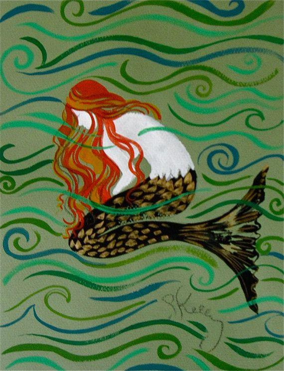 Layla Mermaid 1 Original Mermaid painting by gretchenkellystudio, $75.00