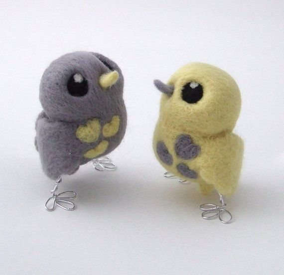 Bird Wedding Cake Topper Pale Grey and Lemon by feltmeupdesigns, £32.50