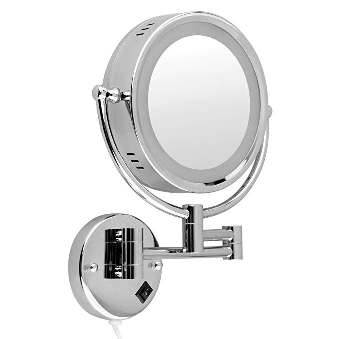 Floureon 10x Magnification 8 5 Inch Plug In Operated Led Lighted Double Sided Wall Mounted Makeup Mirror 2 4 Inch Thickness 11 Inch Extension Chrome Finish F Wall Mounted Makeup Mirror Magnification Mirror Mirror