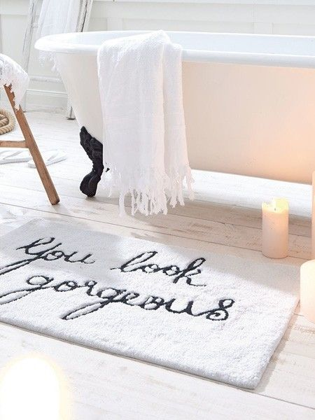 The most uplifting bath mat ever!!! Bathroom bliss! Fun ideas for bathroom decor Little reminders.