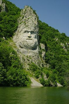 Decebalus, king of Dacia, defeated by Trajan.  Kazam Gorge on the Danube River, Romania. Completed 2004 as part of a campaign to rescue Romania's historic identity.