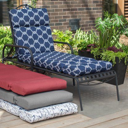 Coral Coast Nautical French Edge 72 in. Outdoor Chaise Lounge Cushion