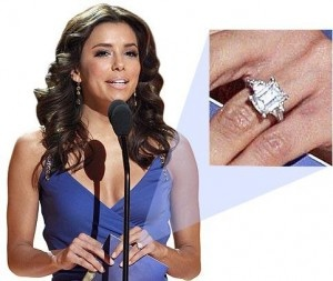 The Engagement Ring of Eva Longoria Eva Longoria is the most beautiful and youngest main member of the ABC hit television show Desperate Housewives. She is one of the many popular TV star and Hollywood film actress that has left the public green with envy when she sported her engagement ring. There