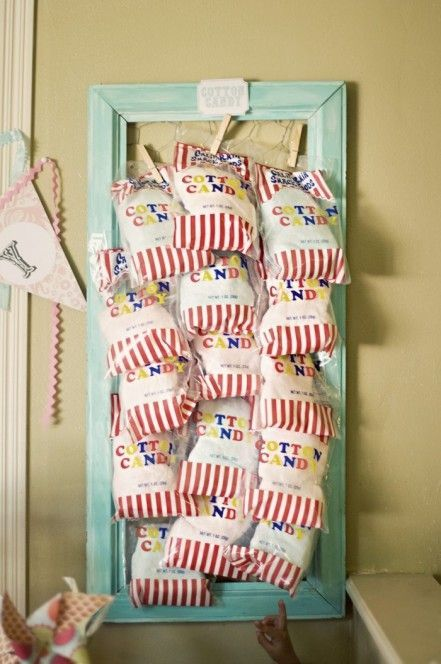 """Circus Party Ideas - """"concession stand"""" treats...frame + chicken wire to clip items onto - Find more carnival birthday ideas at"""