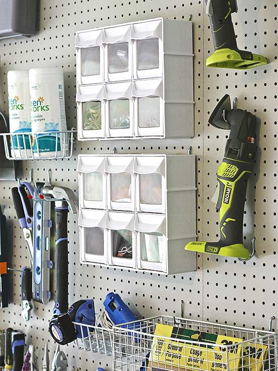 Tricks for using pegboards for storage bins, baskets and other non pegboard accessories in the garage.