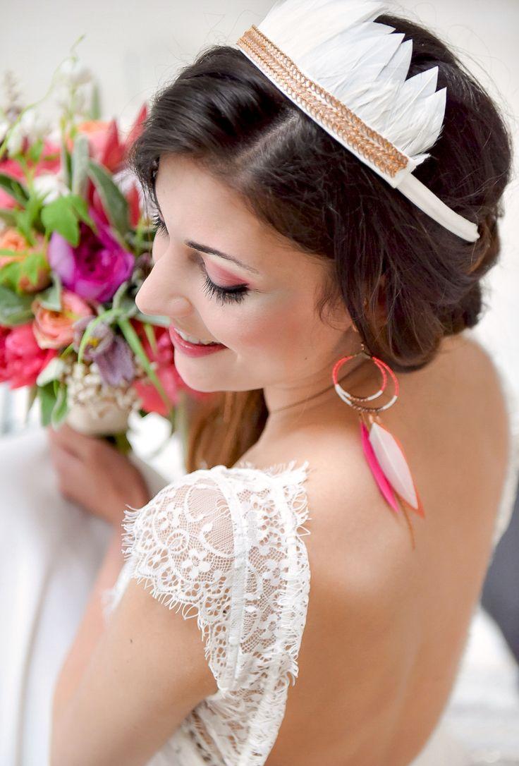 Mariage Ethnique Moderne - Bijoux Les Dormeuses de Madapolam - Design Dessine-moi une etoile - Fleurs Aude Rose - Photo Annaimages