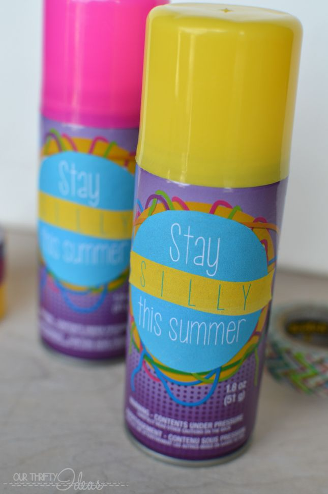 """""""Stay SILLY This Summer""""- Silly String Gift Such a cute printable. Just print and attach to a one dollar bottle of silly string for a great end of the school year gift."""