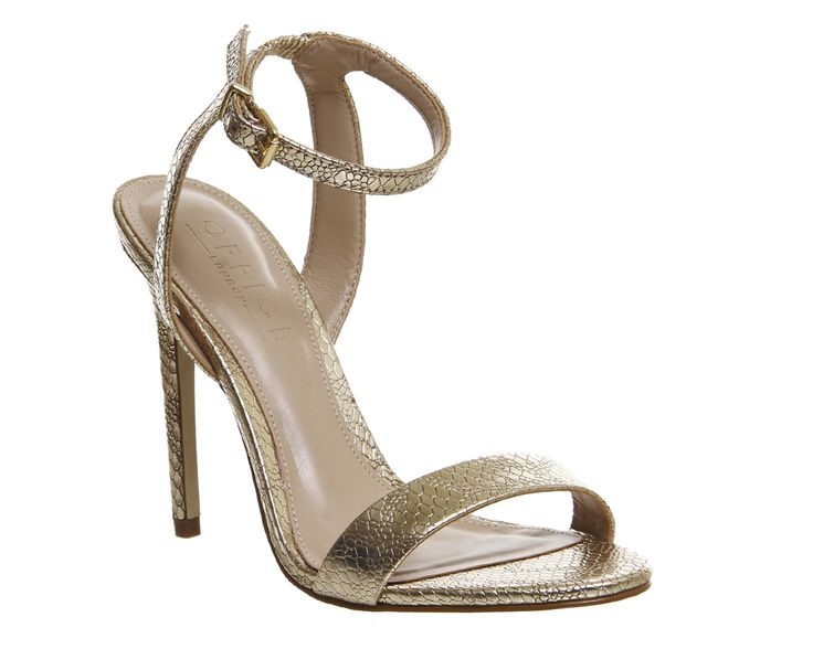 Office Alana Single Sole Sandals Gold Snake Leather - High Heels