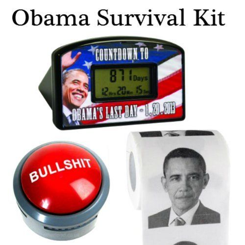 Obama Countdown Kit by 203 Novelty. $20.59. Our Hilarious Obama Survival Kit will make this election year fly by! All encompassing kit allows you to count down the minutes, hit the BS button and flush it all away!! Makes a Great Gift for the Conservative or Liberal in your life!! Obama's Last Day Countdown Clock: - Angry about the economy? Are you looking forward to a new president and Barack Obama's Last Day? Can't wait until 1-20-2017? Desktop Countdown Clock...