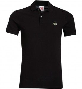 Polo noir slim fit pique de Lacoste L!VE #polo #lacoste #lacostelive