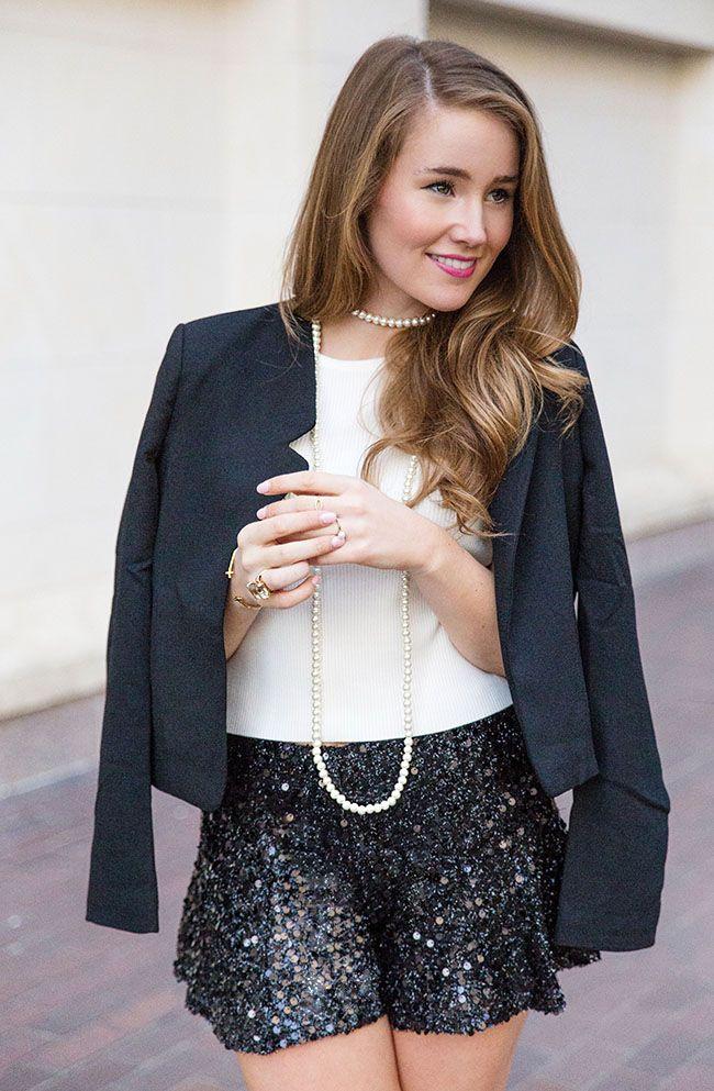 sequin shorts, pearl bracelet, black blazer, sorority girl style, necessary clothing, mod pink bobbi brown